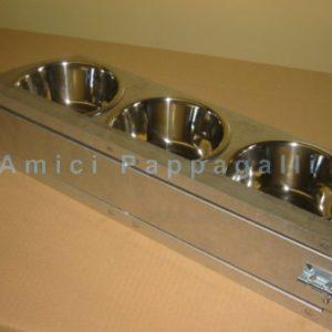 mangiatoia con girevole in acciaio tre ciotole diametro 12