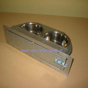 mangiatoia con girevole in acciaio con due ciotole diametro 14 per pappagalli e uccelli