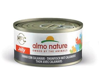 almo nature tonno con calamari, HFC jelly, alimento umido per gatti adulti