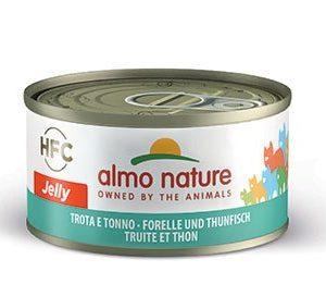 almo nature trota e tonno HFC jelly, alimento umido per gatti adulti