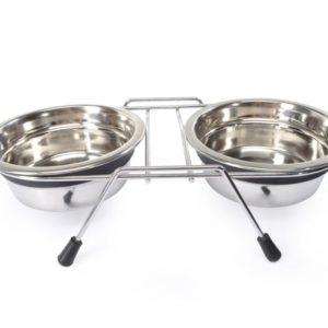 ciotole con portaciotola doppia in acciaio per cane e gatto