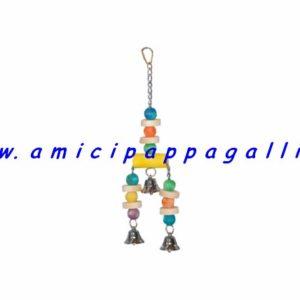 gioco per parrocchetti, pappagalli di tutti i tipi, di media e grande taglia, con campanelle, in legno colorato
