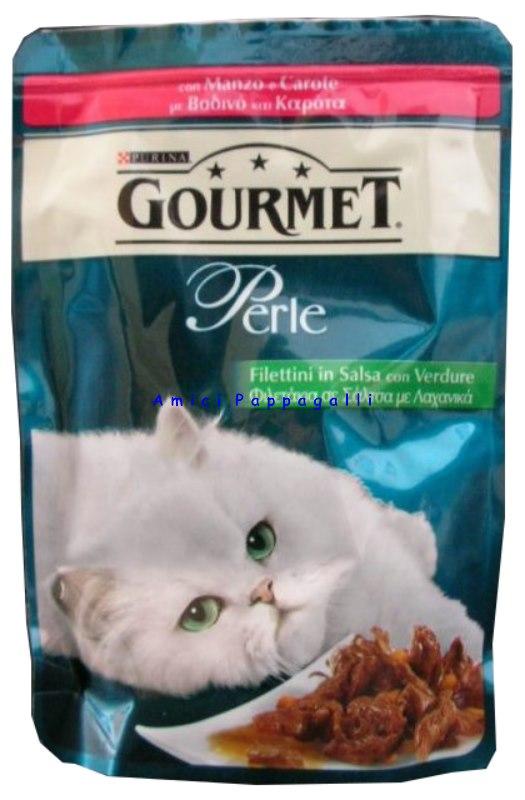 Gourmet Perle Filettini Con Verdure Con Manzo E Carote 85g Gatti
