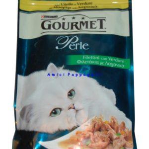 gourmet perle filettini vitello verdure cibo umido gatto