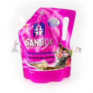 sanibox profumato al legno di sandalo per pulire gli ambienti di casa e dove soggiornano gli animali