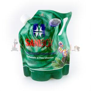 sanibox profumato al pino silvestre detergente e igienizzante per pulire ambienti di casa e dove soggiornano animali