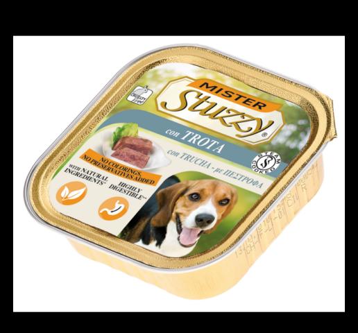 mister stuzzy dog con trota cibo umido patè in vaschetta senza coloranti e conservanti per cani adulti