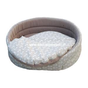 cuccia ovale beige marrone per cani in tessuto per interno