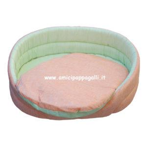 cuccia ovale verde arancio per cani in tessuto per interno