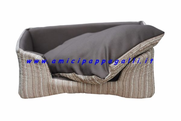 cuccia per cane rettangolare divanetto immbottita, cuscino sfoderabile con strap per ambienti interni