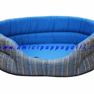 cuccia ovale, imbottita, per cani e gatti, da interno, in tessuto colore blu gessato