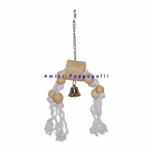 gioco per pappagalli, parrocchetti, in vimini e corda e legno