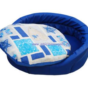 cuccia ovale ecopelle blu per cani con cuscino in tessuto per interno