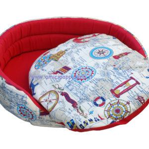 cuccia ovale colore fantasia per cani in tessuto per interno