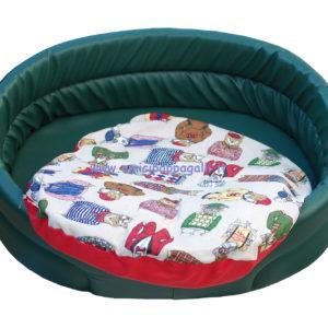 cuccia ovale verde per cani in ecopelle, cuscino in tessuto colorato, per interno
