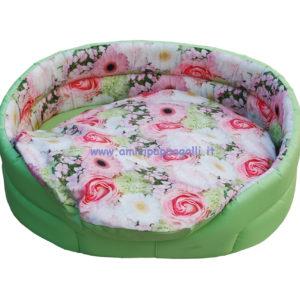 cuccia ovale verde ecopelle a fiori interno per cani e gatti in tessuto per interno