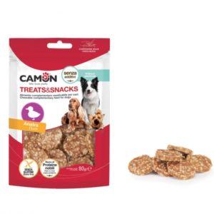 camon treatssnacks snack monetine anatra riso per cani