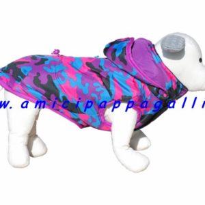 piumino penny imbottito, cappottino impermeabile, double face, il cappuccio staccabile per cani, ditta camon