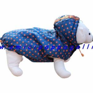 giacca a vento a pois, coral, per cani, camon, impermeabile, imbottita, con cappuccio staccabile e chiusura con laccio, coulisse sulla parte dietro per mantenere la forma