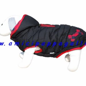piumino nemo imbottito, cappotto reversibile con cappuccio staccabile per cane, ditta camon