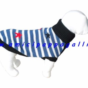 maglioncino per cani, romeo camon, dolcevita, con collo alto risvoltato, cordicine alla fine del maglione per mantenere la forma perfetta