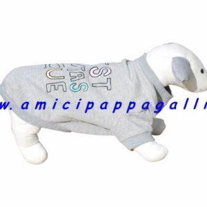 felpa tutina girocollo in pile edgar per cani con stampa coreografica sul dorso
