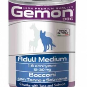 Gemon dog High Premium Quality Bocconi con Tonno e Salmone Adult Medium alimento umido per cane