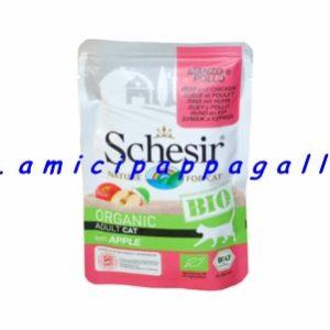 Schesir cat bio organic manzo e pollo con mela (apple), per tutti i gatti alimento umido in pouches, busta