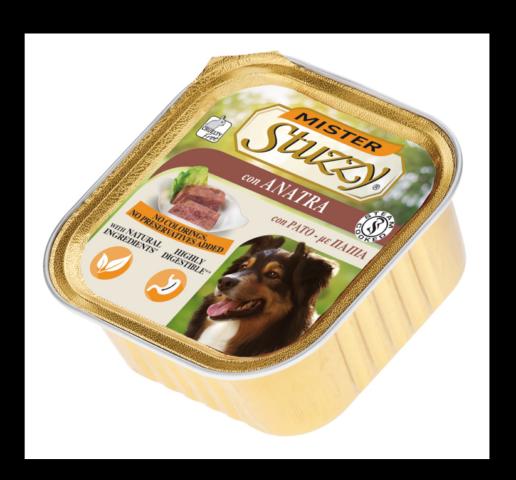 mister stuzzy dog con anatra cibo umido patè in vaschetta senza coloranti e conservanti per cani adulti