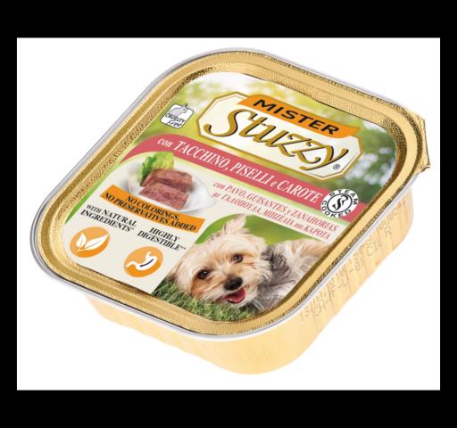 mister stuzzy dog con tacchino e piselli cibo umido patè in vaschetta senza coloranti e conservanti per cani adulti