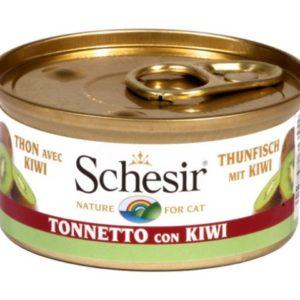 schesir cat tonnetto con kiwi per gatti adulti il cibo umido per loro alla frutta