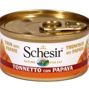 schesir cat tonnetto con papaya per gatti adulti il cibo umido alla frutta