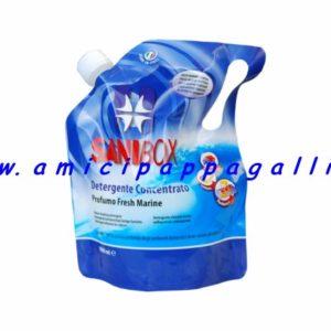 sanibox profumato fresh marine per igienizzare e pulire gli ambienti di casa e dove soggiornano gli animali