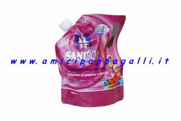 sanibox profumazione lampone e mirtillo, detergente, igienizzante per la casa e gli ambienti dove ci sono gli animali