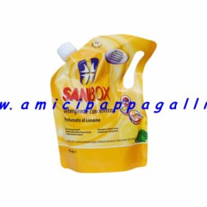 sanibox profumato al limone per pulire e detergere tutti gli ambienti delle case e anche dove soggiornano gli animali