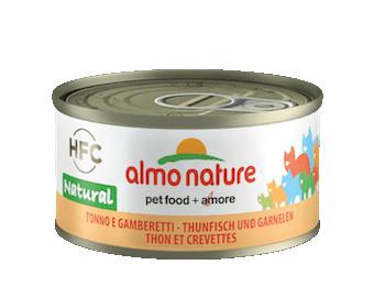 almo nature tonno e gamberetti, HFC natural, alimento umido per gatto adulto