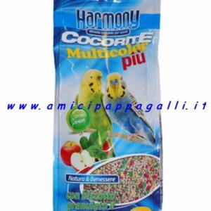 cocorite multicolor più harmony mangime integrato con biscotto, molto apprezzato dai pappagallini ondulati