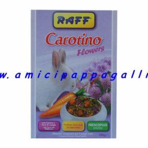 Carotino Flowers Raff è un mangime completo per conigli nani da affezione