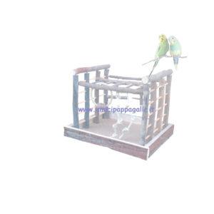 trespolo in legno per pappagalli docili allevati a mano